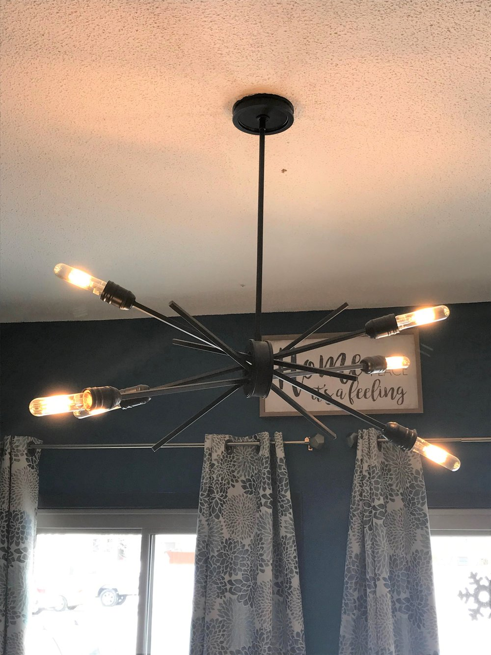 Six-light Sputnik light fixture  in Oil Rubbed Bronze from Bright Ideas, Rochester MN.
