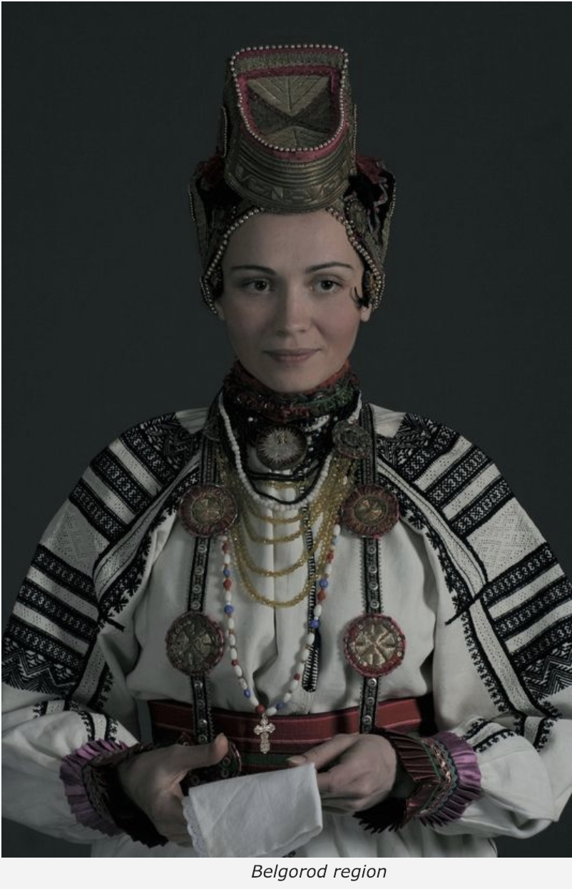 The traditional dress of the Belgorod region. Note the gorgeous weaving details in the shoulders.