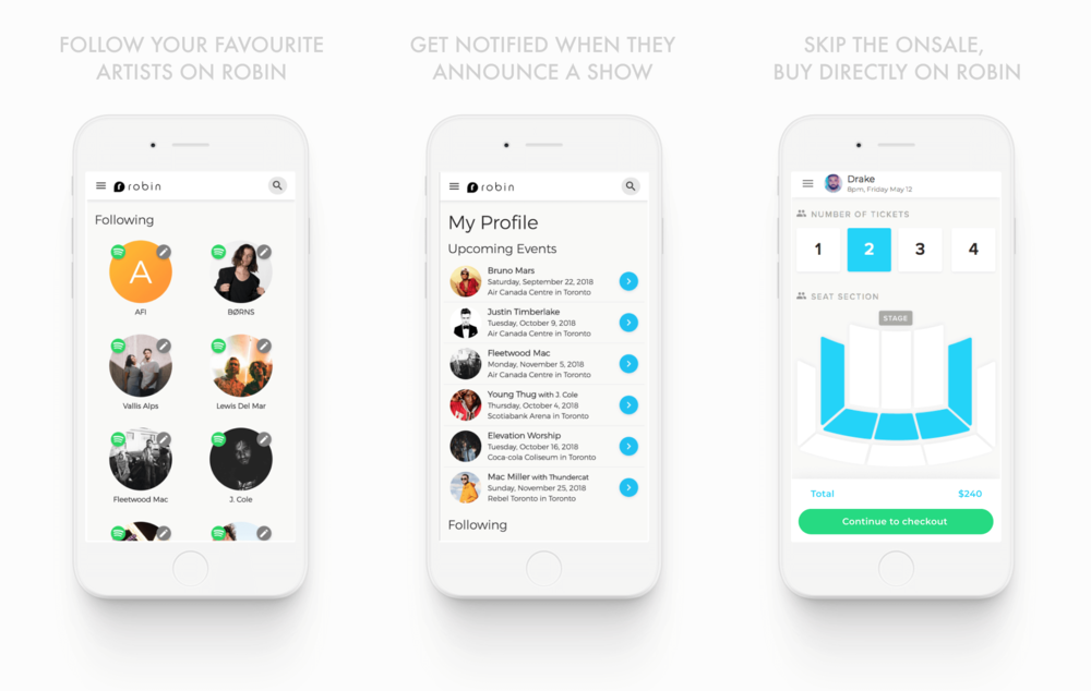 The long-term vision for Robin was to be the source for all your live events. With social integration, event history, and user input, Robin would help users discover more events though curated event recommendations.