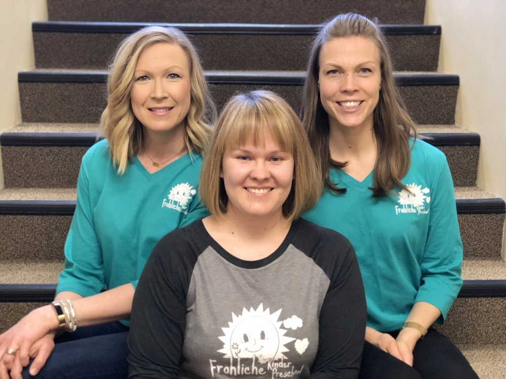 Frohliche Staff - Frohliche Kinder Preschool has recently expanded its staff to meet the needs of our students.Each teacher holds the necessary education to meet the highest standards of her position. All of our staff are former or current Frohliche parents!Jami Olson will be assisting Mrs. Shelley during all of our sessions this year.Sara Halverson and Anne Rydell are on hand to substitute as needed.Jen Anderson works behind the scenes with various projects, and manages the tech aspects for the preschool.
