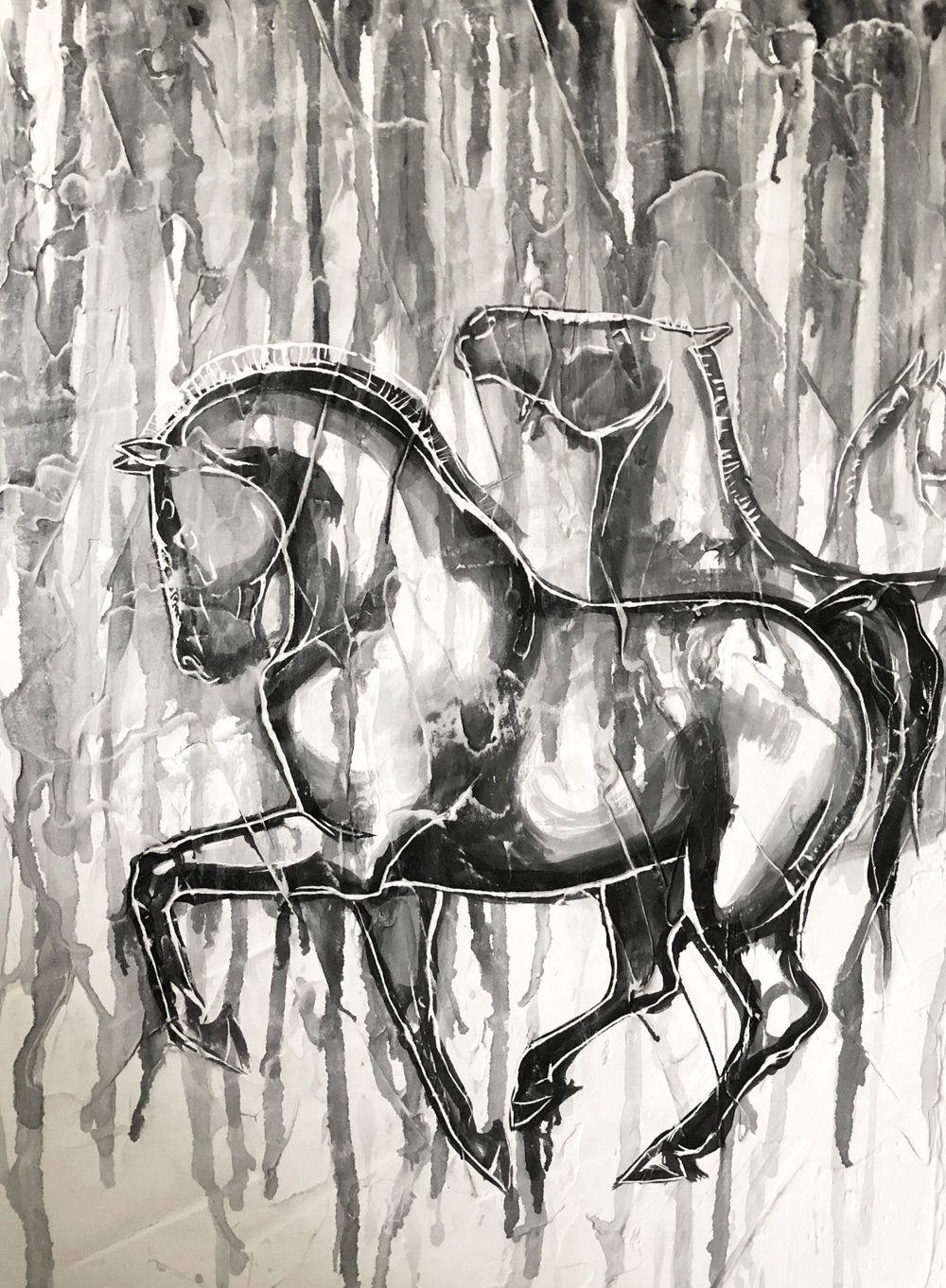 abstract painting horse