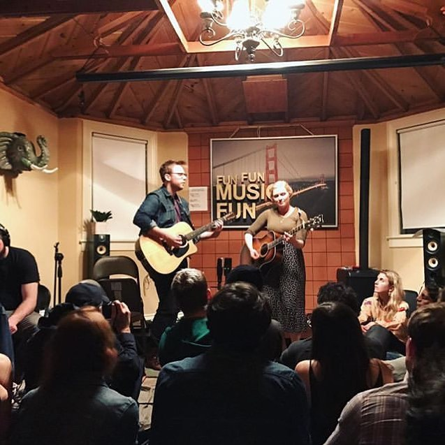 #tbt when we played the Jungle Room at a @sofarsoundssf show almost exactly 2 years ago. What a night to remember 🐅🐘🐆 #bairdandbeluga #sfmusic #sofarsounds #houseconcert #jungleroom #secretshow #folkduo #acousticfolk