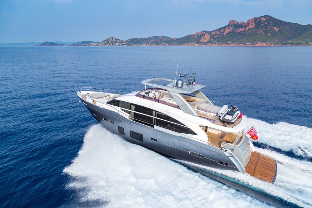 Princess Y75 Motor Yacht - The ingenious design of the Y75 Motor Yacht offers efficient, agile cruising, enabling you to plane at lower speeds. Her deck layout provides you with a variety of options to entertain or relax including a walkthrough foredeck with U-shaped seating and sunbathing area. She is also sociable whilst underway with seating either side of the upper helm. The flybridge has space aft for free standing furniture or to fit a crane and store a tender.