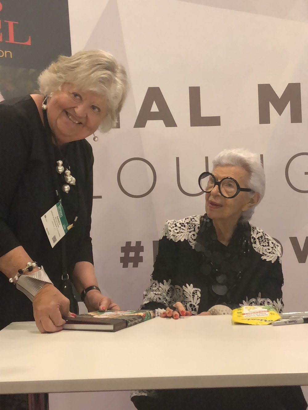 Sandy meeting her idol Iris Apfel, American business woman, interior designer and fashion icon, at the NY NOW show in NYC, August 2018.