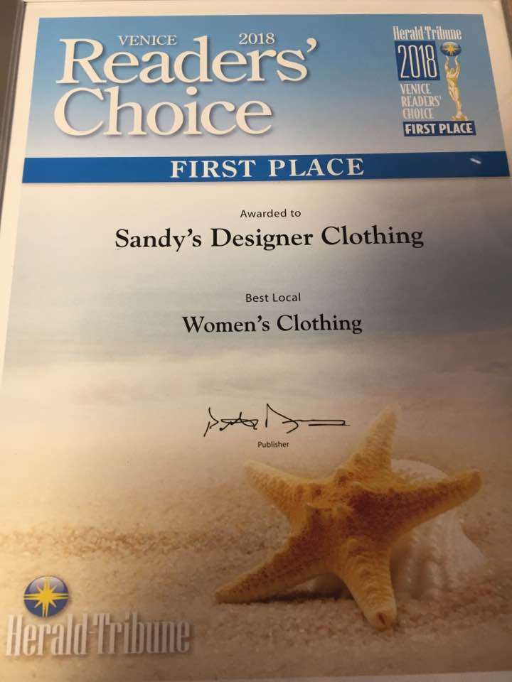 February 2018, Sandy's Designer Clothing was voted the best local women's clothing store in Venice. Thank you to the readers of the Venice Herald Tribune for voting for us!