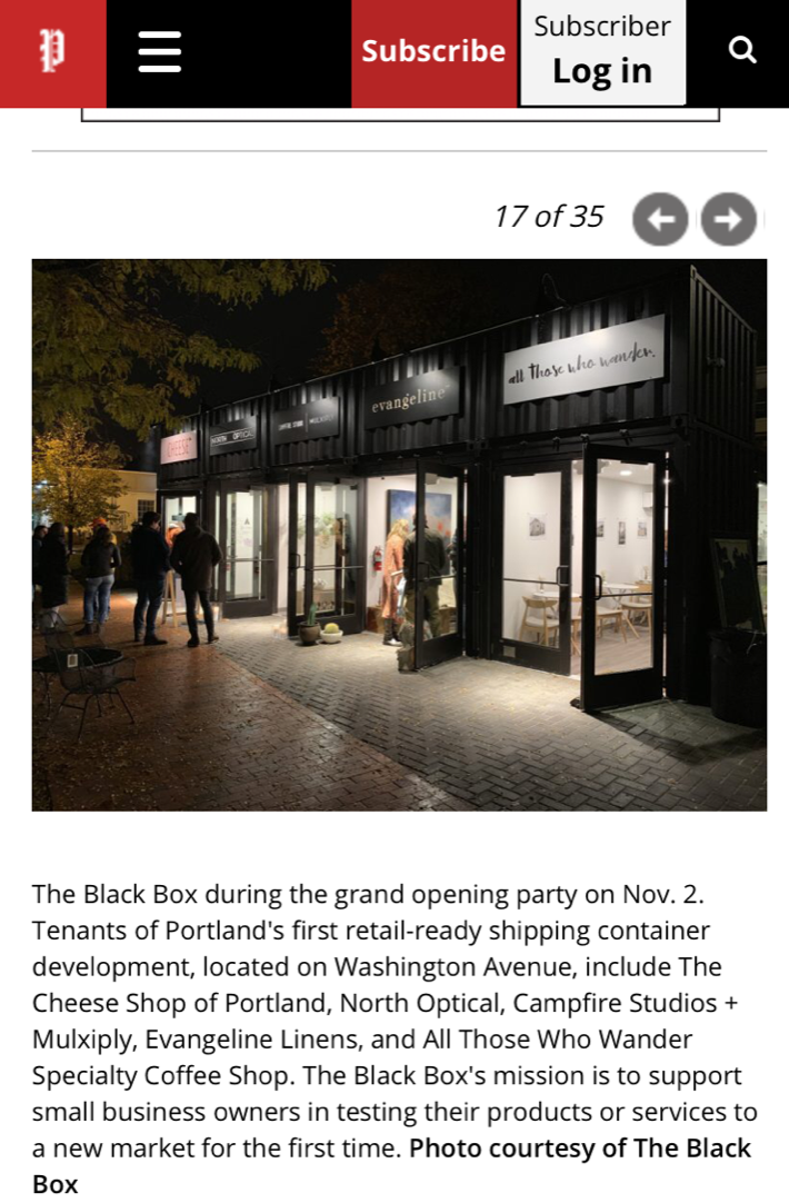 The Portland Press Herald included a recap of The Black Box grand opening through a series of photos in the December 9 Scene & Heard edition.