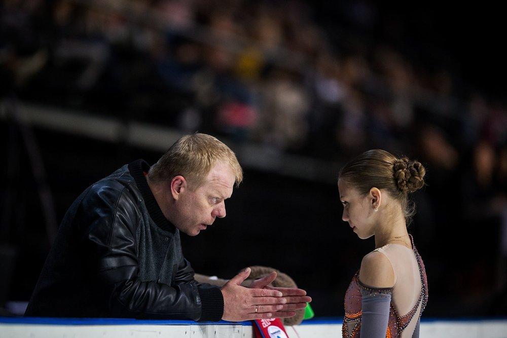 Alexandra Trusova with coach Sergei Dudakov at the JGP Amber Cup Free Skate ( Photo Credit )