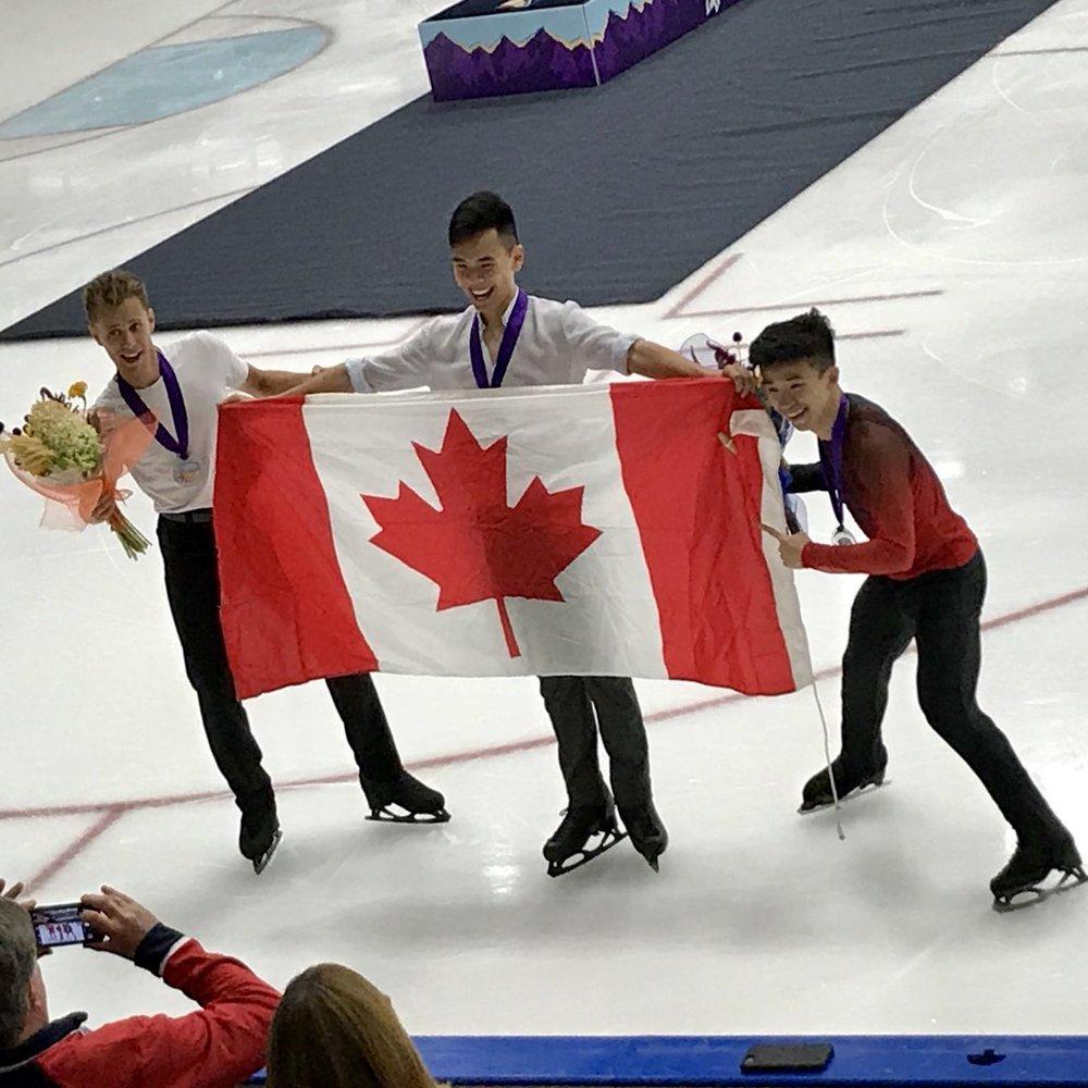 Celebration with the US Classic Mens podium: Nam Nyugen, Michal Brezina and Jimmy Ma (   Photo credit   ).