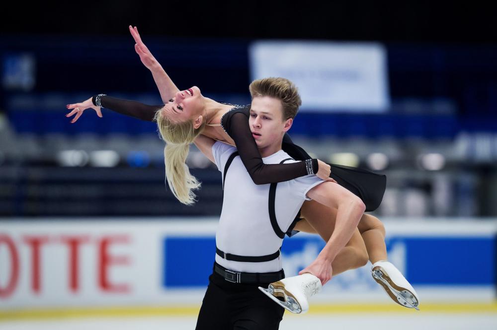 Diana Davis and Gleb Smolkin performing their Free Dance at JGP Czech Skate    (Photo credit: ISU)