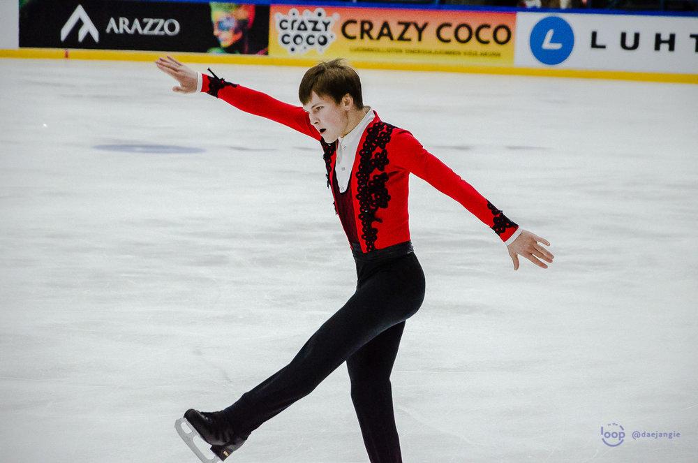 Mikhail Kolyada (RUS) performs his FS at Finlandia Trophy (   Photo credit: @daejangie   )