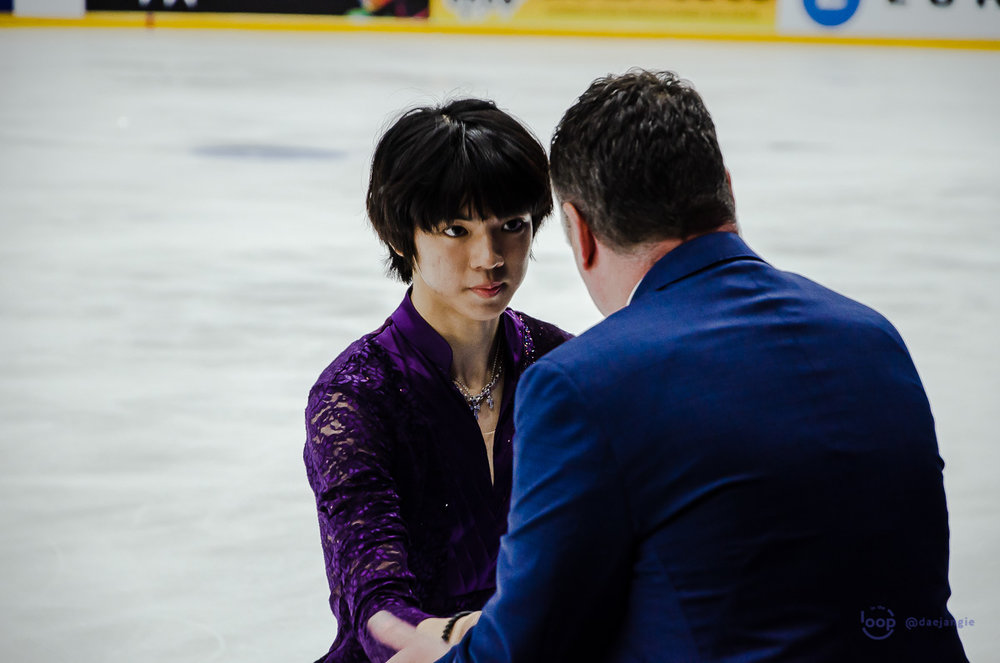 Junhwan Cha with coach Brian Orser before his Free Program at Finlandia Trophy (   Photo credit: @daejangie   )