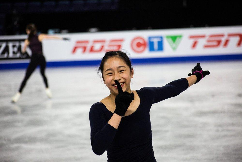 Ladies silver medallist Mako Yamashita smiles during practice (   Tweet it here   )