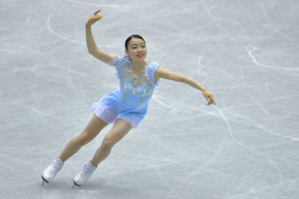 Rika Kihira performs her Short Program at NHK Trophy, her Senior Grand Prix debut (Photo Credit: ISU)