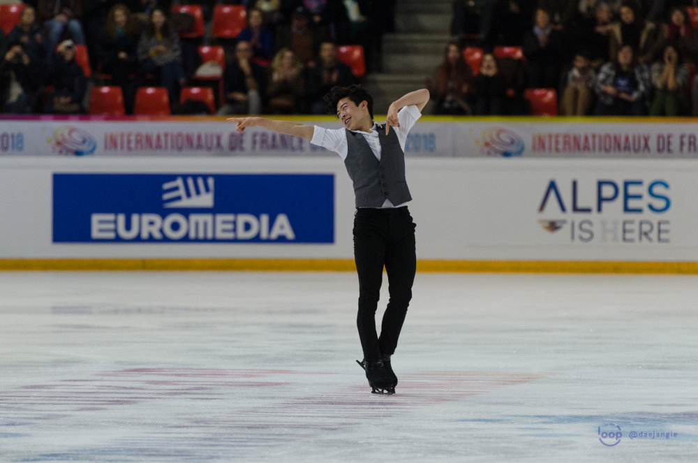 Nathan Chen (USA) finishes his Short Program at Internationaux de France (Photo Credit:    Clara   )