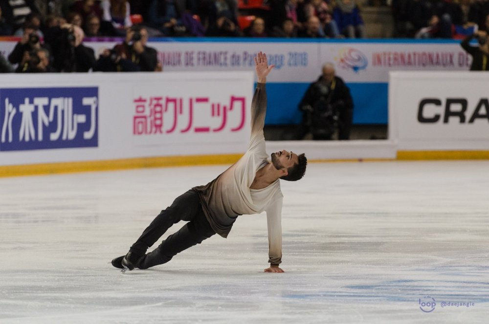 Kévin Aymoz performing his Free Skate at IDF 2018 (   Photo credit: Clara   )