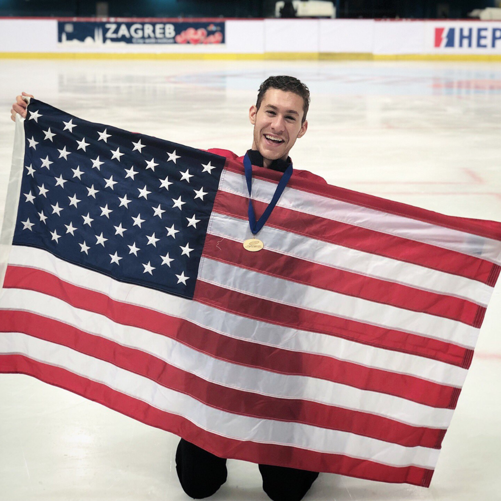 Jason Brown (USA) celebrating his win at the Golden Spin of Zagreb (   Photo credit: Jason Brown   )