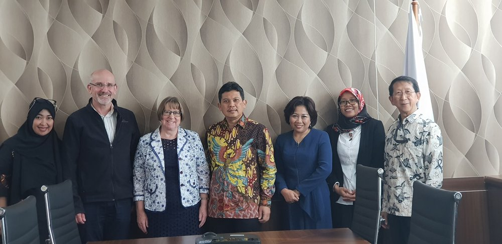 University of New England delegation, from left, Ms Suli Hakim Dalle, Dr Philip Thomas and Vice-Chancellor Professor Annabelle Duncan, meeting representatives of the Indonesian Ministry of Research, Technology and Higher Education/Kementerian Riset, Teknologi dan Pendidikan Tinggi Prof Dr Ali Ghufron Mukti (Director General, centre), Ms Juniarti Duwi Lestari (Deputy Director for Faculty Members Qualification Affairs), Ms Anis Apriliawati (Head of Collaboration Affairs) and Dr John I. Pariwono (Coordinator of Overseas Scholarship).