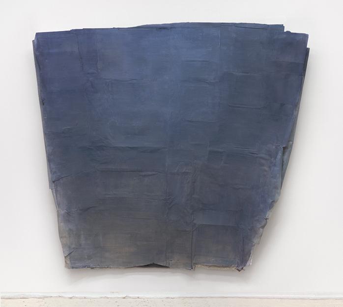 "Heaven  76"" x 72""  wood, cardboard, paper, paint  2018"