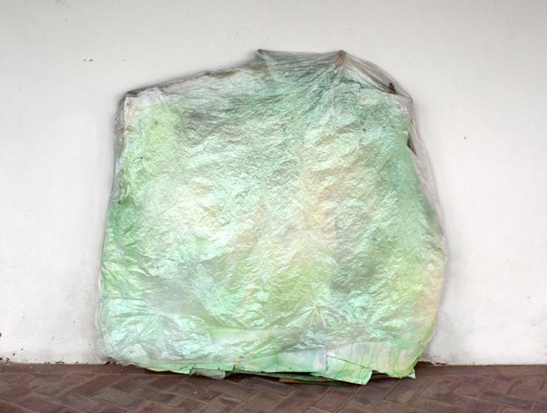 "Green,  64"" x 65""  wood, paper, paint, plastic  2013"
