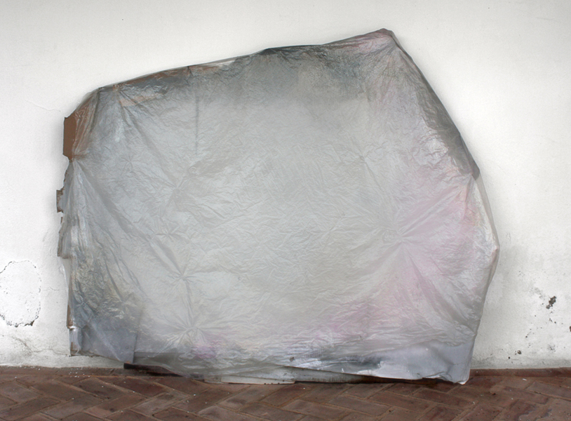 "Grey  61"" x 75""  wood, paper, paint, plastic  2013"