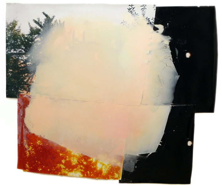 """New day  64"""" x 73""""  oil on collaged c-print  2012"""