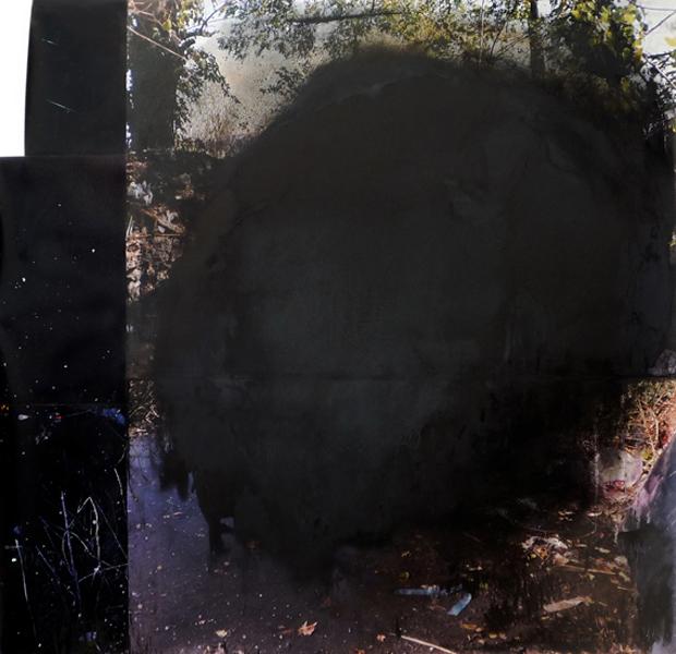"Black cloud  53"" x 52""  oil on collaged c-print  2011"