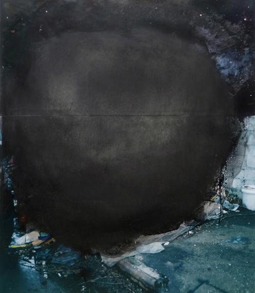"Dusk  57"" x 49""  oil on collaged c-print  2011"