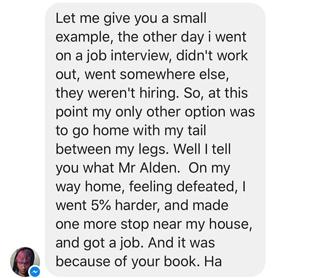 Fills me with pride and joy to get messages like this!  #5percentmore #grateful