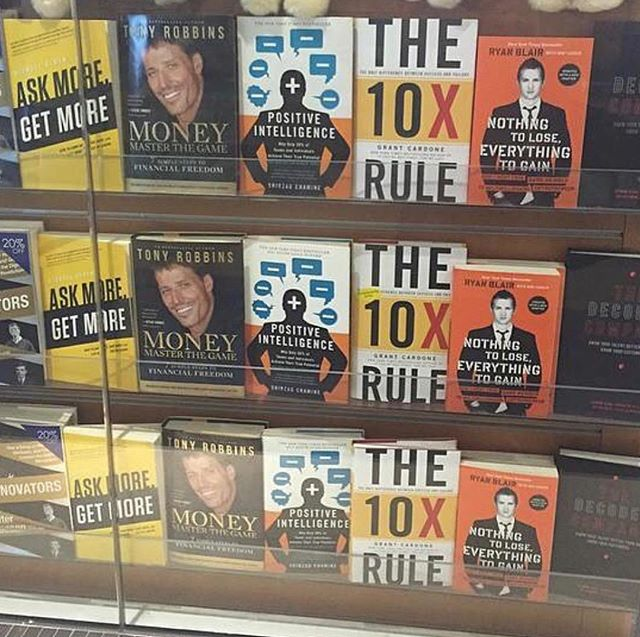 It's been close to 5 years since the release of my 1st book Ask More Get More. — - I've written a total of 6 books since then, hitting the WSJ and USA Today best seller lists three times. - It was surreal for me to see my 1st book along side rockstar entrepreneurs such as @tonyrobbins @grantcardone and @realryanblair - - Since then I was on Grants show Power Players and had him on my podcast The Alden Report.- - I've also had Ryan Blair on my podcast and have become close friends with him. - - I'm sure someday soon Tony and I will connect. - — Whatever it is you want to do, start now so you can look back like this and remind yourself how cool it was. — -  #askmore #askmoregetmore #tonyrobbins #10x #grantcardone #ryanblair #aldenreport #thealdenreport #podcast #5percentmore #askmorebook #bptb #boba