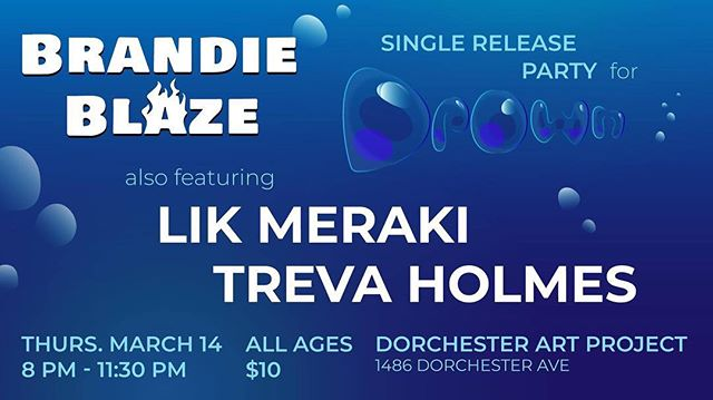 TONIGHT!!! Saw Brandie Blaze at our February show and wanna see her again? Missed the show but still want a chance to see her? Come to Dorchester Art Project TONIGHT to celebrate the release of @brandieblaze 's new single, Drown! . . . . . . . . . . . #concert #bostonmusicscene #greenlinerecords #bostonrap #bostonmusic #bostonrapper #dorchester #livemusic #localartist #localmusic #localmusicians #localrapper