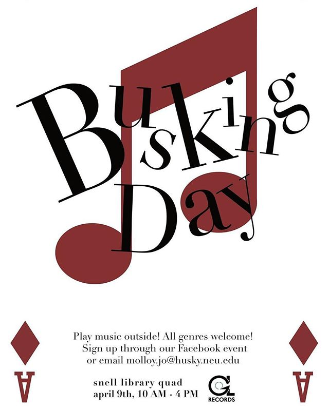 Busking Day is tomorrow! Come watch your fellow huskies play some awesome sets in the Snell Quad! . . . . . . . . . #northeasternuniversity #neu #greenlinerecords #localartist #localmusic #localmusicians #busking #freeconcert #livemusic #bostonmusic #bostonmusicscene #bostonmusicians #bostonartist