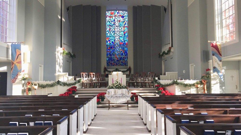 The sanctuary on Christmas Eve