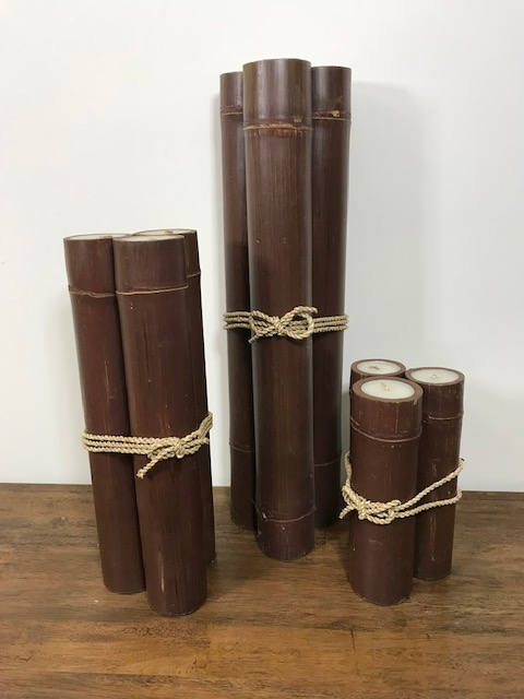 BAMBOO CANDLE HOLDERS