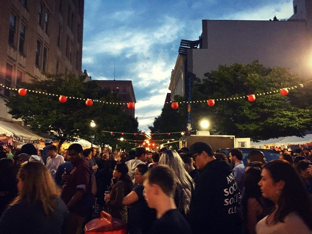 Dusk at the Charm City Night Market. Photo courtesy of Jennifer Knight.