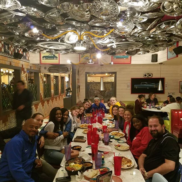 Lady Lions enjoying a great dinner after 2 tough games! No wins today but the girls kept fighting to the end! One more game tomorrow.
