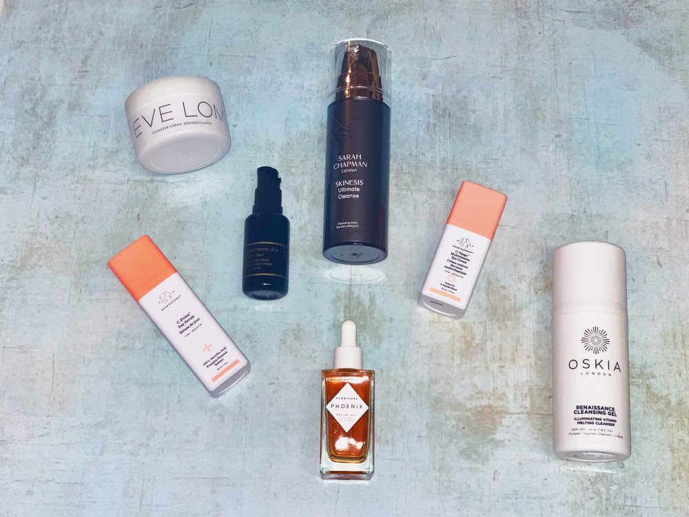 Vitamin C Herbivore, Drunk Elephant, Oskia Renaissance Cleansing Gel, Sarah Chapman Ultimate Cleanse, Eve Lom Cleansing Balm, May Lindstrom The Youth Dew