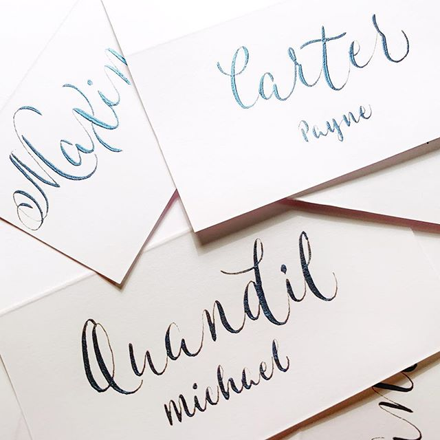 Absolutely love these. @finetec Midnight Blue. So hard to capture the finish 🦋 ••••••••••••••••••••••••••••••••••••••••••••••••••••••••••••••••••• #pointedpen #calligraphy #lettering #handlettering #letteringdaily #calligrapher #letteringartist #modernscript #moderncalligrapher #thegoodtype #typography #handmade #handmadefont #placecards #ukcalligraphy #kentcalligraphy #surreycalligraphy #londoncalligraphy  #inspiration