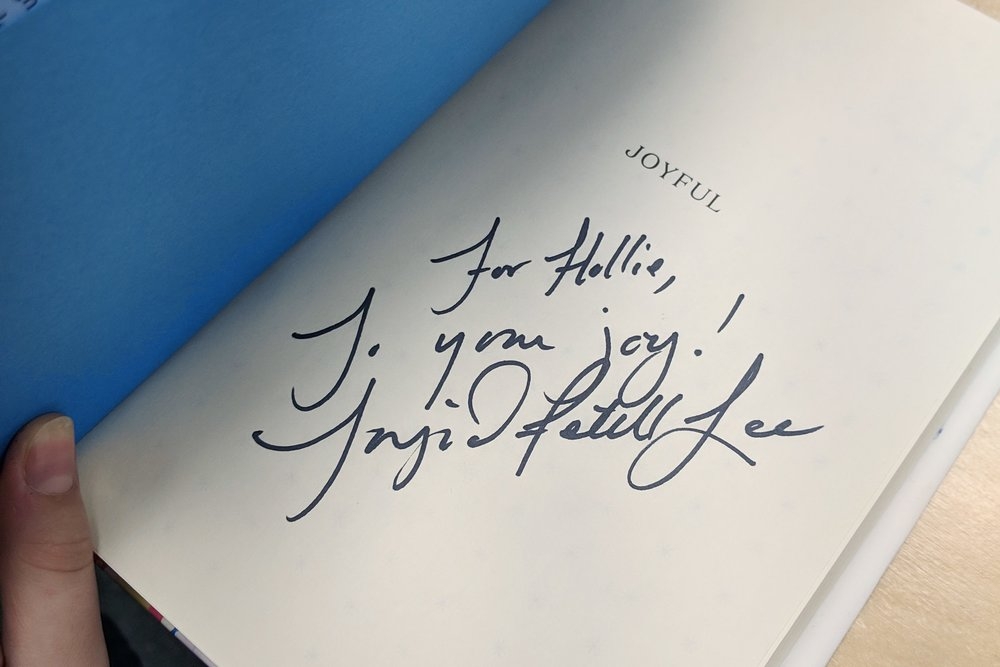 Ingrid signed a copy of her book for us.