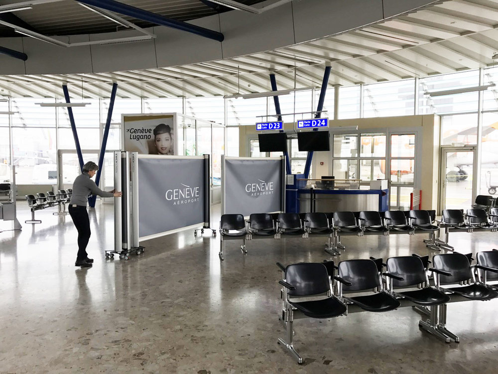 KwickScreens being used to partition off zones at terminals in Geneva Airport