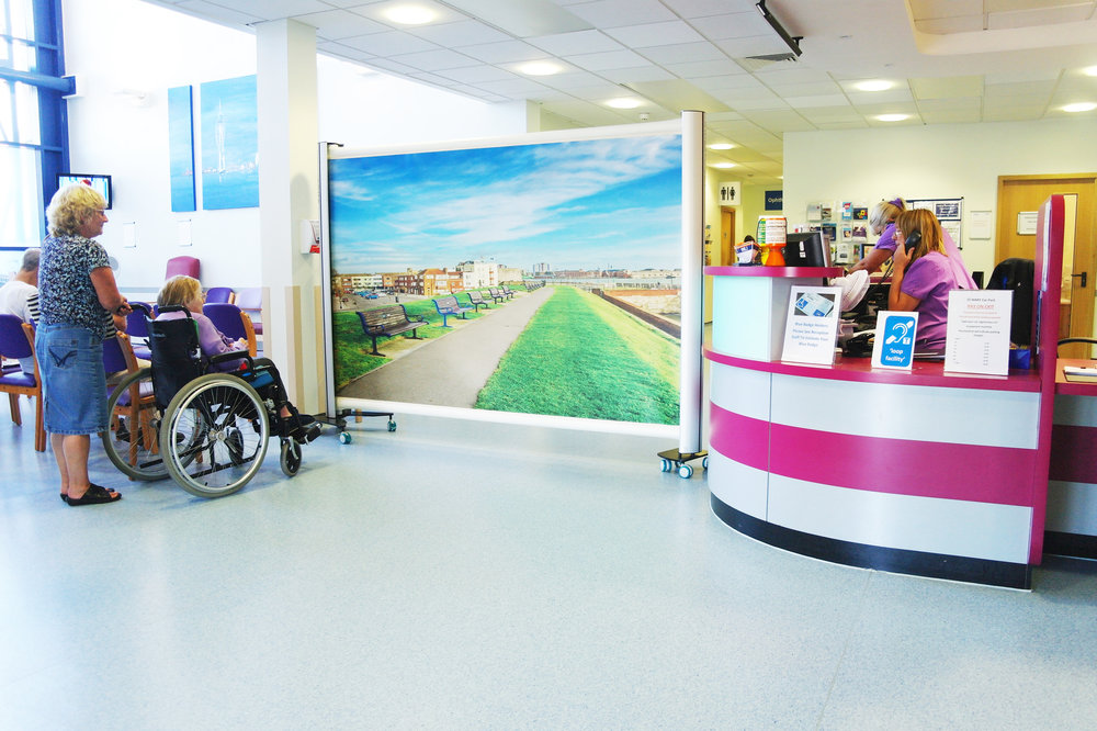 KwickScreen Pro at Portsmouth Hospital being used to provide privacy for corridor space.