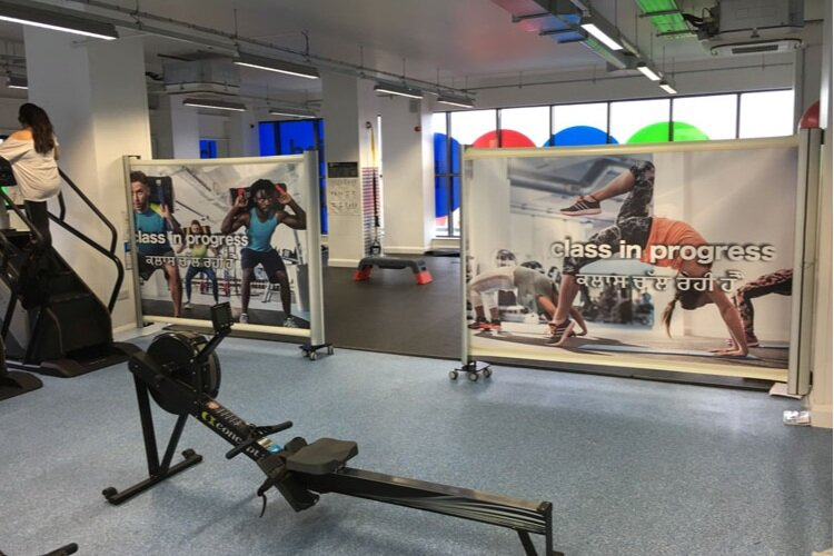 KwickScreens installed at the Gym Group London