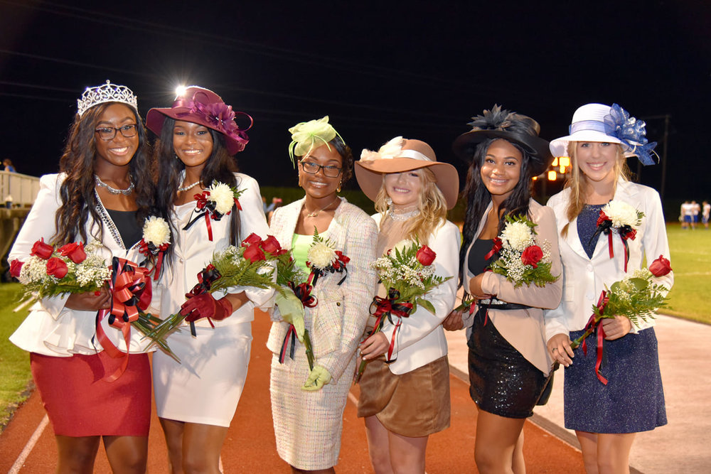 Left to right: Queen: Candace Joseph, 1st Maid : Makayla Richard, 2nd Maid: Travana Pearley, 3rd Maid: Bailee Landry, 3rd Maid: Trinity Dunnaway, 3rd Maid: Anna Dille