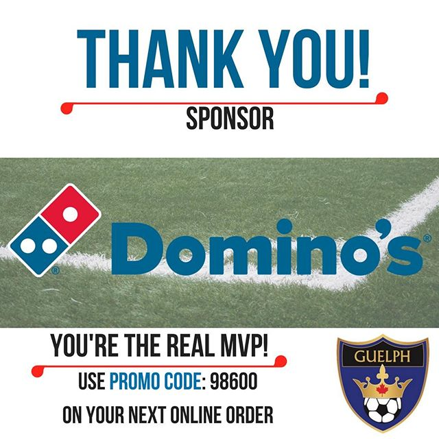 We know you love good pizza, and Guelph Soccer has you covered! 🍕💙⚽️ Domino's Pizza in Guelph has been a generous sponsor again this year. Use the promo code: 98600 on your online orders all summer to redeem your exclusive GSC discount! 🙏💻💵