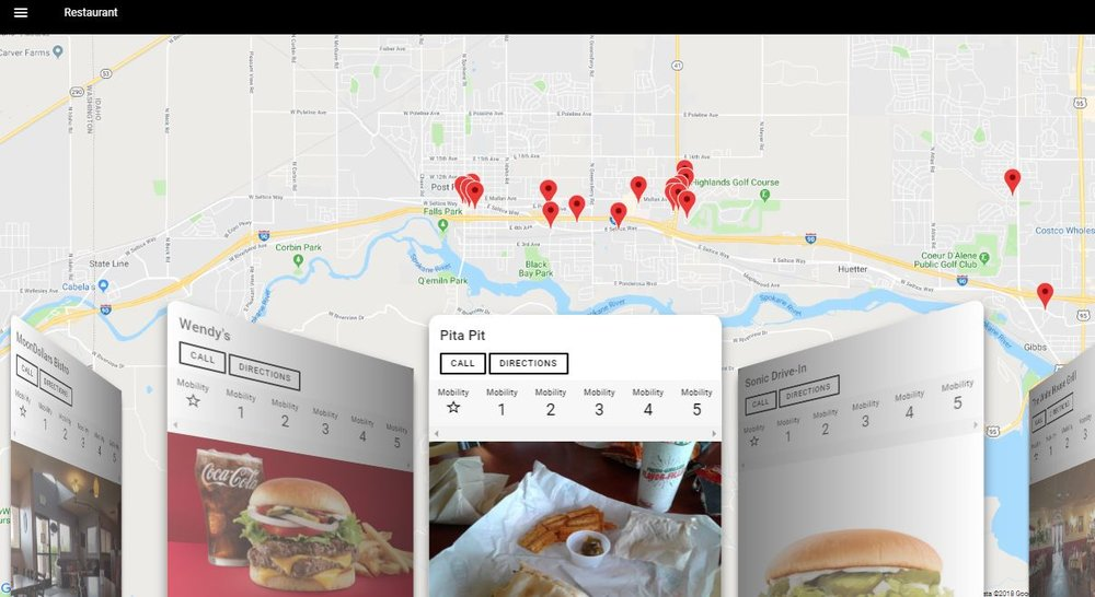 Image Description: A Screen Shot of the Ability App Prototype showing a map in the background with floating tiles over the top of the map displaying accessibility information about restaurants in Post Falls, Idaho.