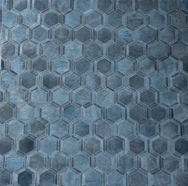 Blue Hexagon Design Area Rug #15