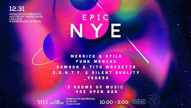 Tomorrow night a gathering of some Atlanta's most creative and forward thinking, local/regional DJs will be taking you on a musical journey this NYE.  Presales have SOLD OUT, but there will be a limited amount of tickets available at the door after 12am.  Doors open at 10 PM.  EPIC NYE at @musicroom327 Atlanta, in collaboration with The Reunion, @collage_atl , & Dimensions of Being. Food by Bone Lick  Featuring : @__komron  @titomazzetta  @ysheso____  @merrick181  @attila_tha_killa  @funkmanchu  @s.a.n.t.y_official & @silentduality  address : 327 Edgewood Avenue - downstairs  #atlanta #nye #techno #house #minimal #underground