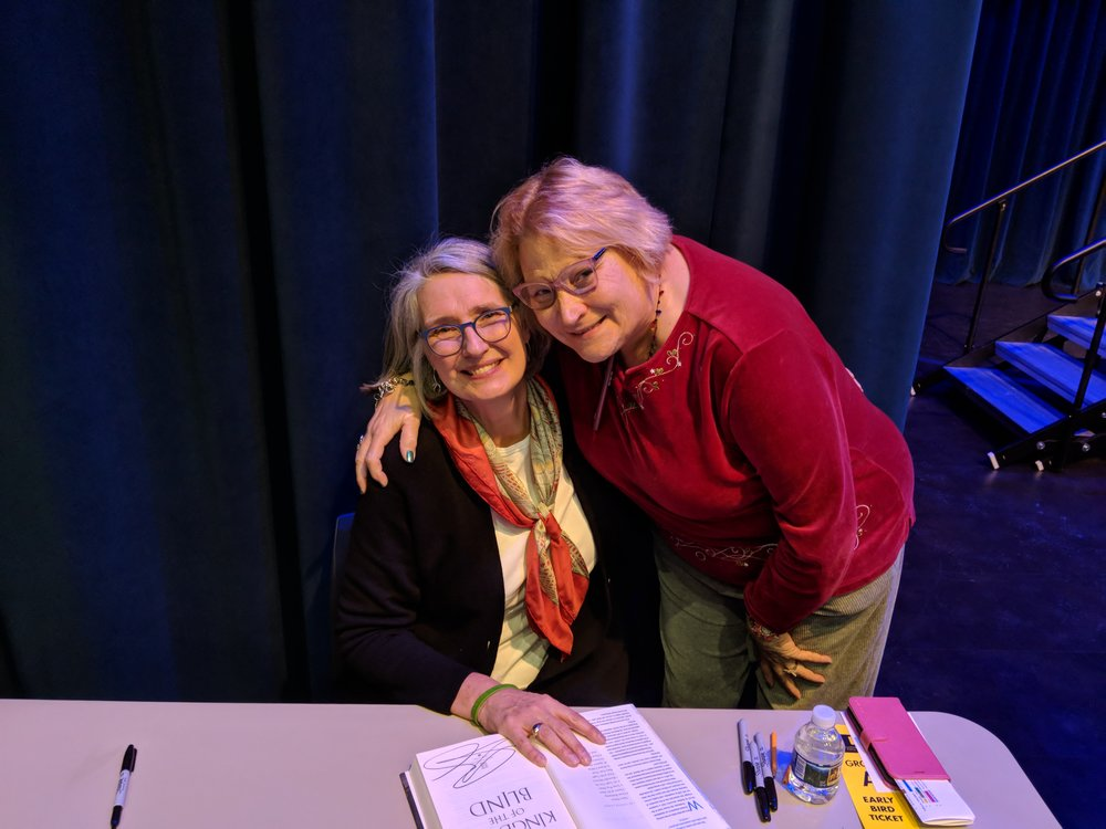 LOUISE PENNY AND ME!  SHE IS AUTOGRAPHING MY BOOK!!!