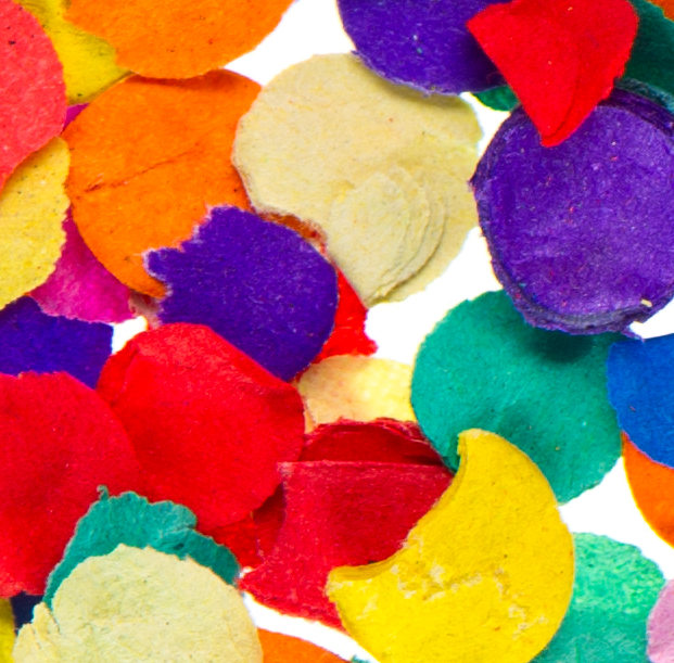 Image Description: Close up of brightly coloured confetti