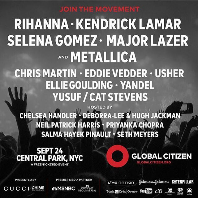 Earn your tickets by taking action at globalcitizen.org