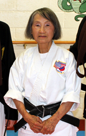 Kyoshi Teru Hendry ran her dojo in Elkhart for many years, and recently retired. She is ranked 7th Degree in Kobu Do and Shorin-ryu Karate Do. She teaches Kobu Do primarily tonfa, sai, bo, nunchaku, and sword.